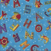 Alphabet with Metallic Gold Birds Stars Laurel Burch Quilting Fabric
