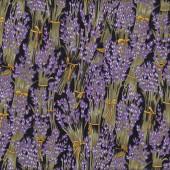 Lavender Flowers on Black Floral Quilt Fabric