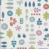 Fish Fruit Leaves Trees on White Quilting Fabric
