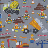 Lego Construction on Grey Cement Truck Excavator Boys Quilting Fabric