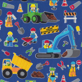 Lego Construction on Royal Blue Digger Excavator Dump Truck Quilt Fabric
