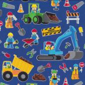 Lego Construction on Royal Blue Digger Excavator Dump Truck Quilt Fabric