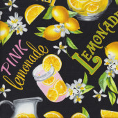 Pink Lemonade on Black Lemons Drink Flowers Quilting Fabric