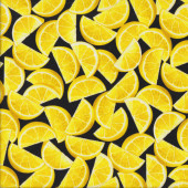 Lemon Wedges on Black Lemon Fresh Fruit Quilting Fabric