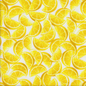 Lemon Wedges on White Lemon Fresh Fruit Quilting Fabric