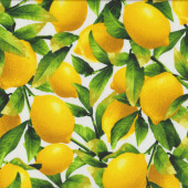 Lemons on White Quilting Fabric