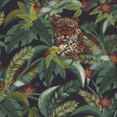Leopards in Jungle on Black Quilting Fabric