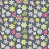 Let it Snow Snowflakes Christmas Trees on Dark Grey Quilting Fabric