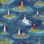 Lighthouse Seagull By The Sea Ocean Quilting Fabric