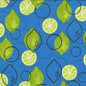 Limes on Blue Fruit Metro Market Quilt Fabric
