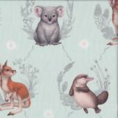 Little Aussie Friends Australian Animals on Mint Green Quilting Fabric