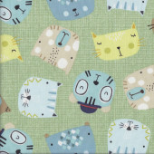 Animal Faces Cats Dogs Little Friends on Green Quilting Fabric