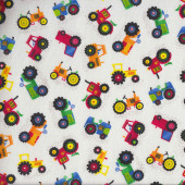 Little Colourful Tractors Quilting Fabric