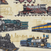 Trains Locomotives Carriages on Light Beige Boys Quilting Fabric