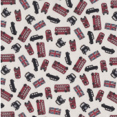 British Union Jack Flag London Double Decker Bus Taxi Quilting Fabric