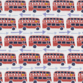 London Buses Double Decker England on White Quilting Fabric