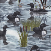 Loon Ducks on Water Reeds Quilting Fabric