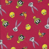 Looney Tunes on Red Bugs Bunny Daffy Duck Marvin Licensed Quilting Fabric