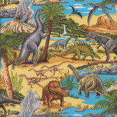 Dinosaurs T-Rex Triceratops Trees Landscape Quilting Fabric