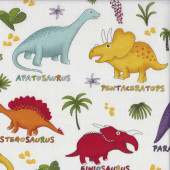 Dinosaurs on White Blue Lost World Kids Quilting Fabric