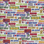 Meow Woof Love is a Four Legged Word Cat Dog Words Quilting Fabric