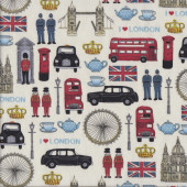 I Love London on Cream Quilting Fabric