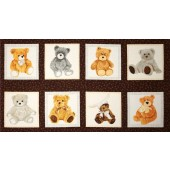 Love Me Teddy Bears in Squares Quilting Fabric Panel