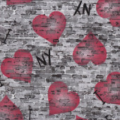 I Love New York on Brick Wall NY Love Hearts Quilt Fabric