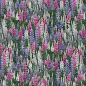 Lupin Flowers White Floral Quilting Fabric