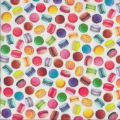 Small Colourful Macaroons on White Sweet Tooth Food Quilting Fabric