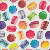 Colourful Macaroons on White Sweet Tooth Food Quilting Fabric