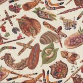 Australian Aboriginal Mullawa Bush Food Tucker Quilting Fabric