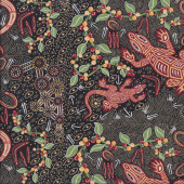 Australian Indigenous Aboriginal Man and Goanna by G. Reid Quilting Fabric