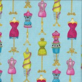 Mannequins on Blue Quilting Fabric