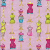 Mannequins on Pink Quilting Fabric