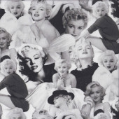 Black and White Marilyn Monroe Movie Star Quilting Fabric
