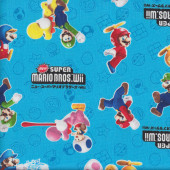 Super Mario Bros Wii on Blue Fabric
