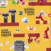 Super Mario Maker on Yellow Fabric