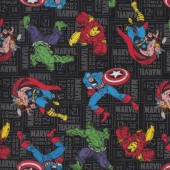 Marvel Comics on Black Hulk Cpt America Ironman Quilting Fabric