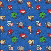 Marvel Avengers on Blue Superheroes Kids Licensed Quilting Fabric
