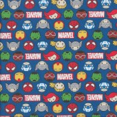 Marvel Kawaii Hero Faces on Blue Kids Licensed Quilting Fabric