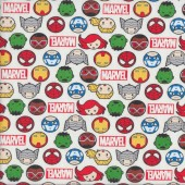 Marvel Kawaii Hero Faces on White Kids Licensed Quilting Fabric