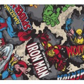 Marvel Avengers Hulk Spiderman Thor Iron Man Licensed Boys Fabric