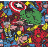 Marvel Avengers Spiderman Hulk Thor Captain America Licensed Boys Fabric