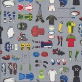 Rugby Union Apparel on Grey Match Day Mens Sport Quilting Fabric