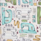 Sewing Machines on Pink Measure Twice Scissors Quilting Fabric