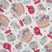 Sewing Accessories on Pink Measure Twice Button Jar Quilting Fabric