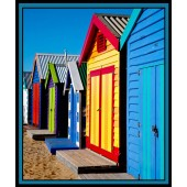 Brighton Beach Huts Melbourne Sights Quilting Fabric Panel