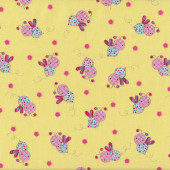Bees Little Menagerie Yellow Melly And Me Quilting Fabric