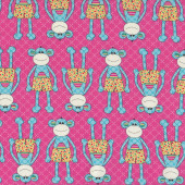 Monkeys Little Menagerie Pink Melly And Me Quilt Fabric